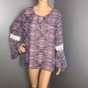 Como Vintage NWT High/Low Bell Sleeves Purple L